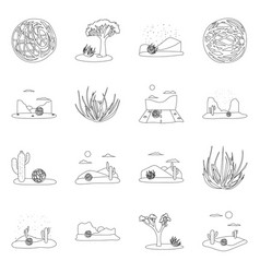 Isolated object wilderness and texas icon set vector