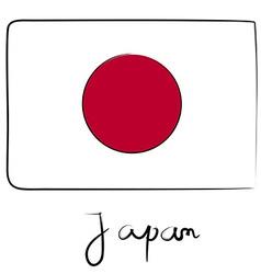 Japan flag doodle vector