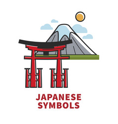 Japanese symbols promotional poster with vector