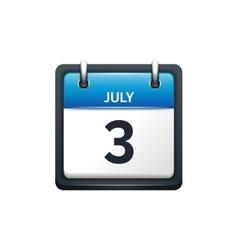 July 3 Calendar icon flat vector