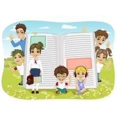 Kids playing on the field next to giant book vector