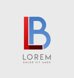 lb logo letters with blue and red gradation vector image