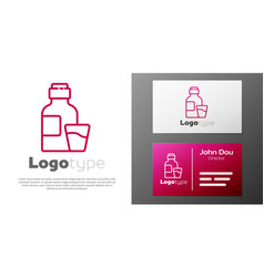 Logotype line bottle medicine syrup and dose vector