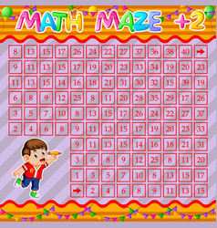 Math maze addition worksheet with happy boy vector