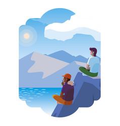 Men couple contemplating horizon in lake and vector