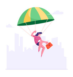 Modern business lady with briefcase in hand flying vector