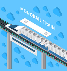 Monorail train isometric composition vector