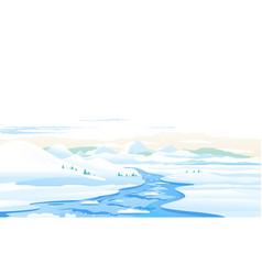 mountain river ice melting spring landscape vector image