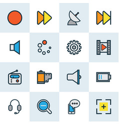 multimedia icons colored line set with film vector image
