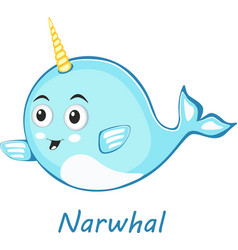narwhal cute character in cartoon style drawing vector image