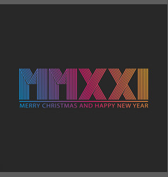 number 2021 logo hny roman mmxxi trendy vector image