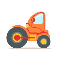 Orange steamroller truck construction machinery vector