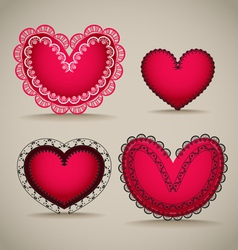 Ornamentel red Valentines day hearts vector