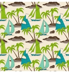 Palm trees island and boats pattern summer vector