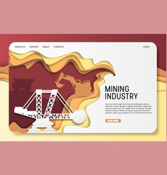 paper cut mining industry landing page vector image