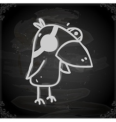 Parrot Drawing on Chalk Board vector