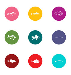 pisces icons set flat style vector image