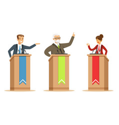 politician and candidates giving a speech behind vector image