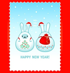 Rabbit Santa New Year card vector