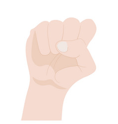 raised fist isolated on white background vector image