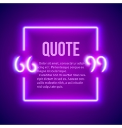 Retro neon glowing quote marks frame vector image