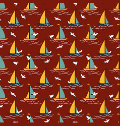 Seamless pattern with sailing yachts and seagulls vector