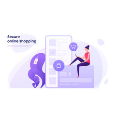 secure online shopping protected payments using vector image