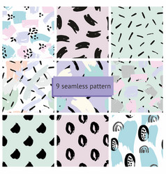 Set abstract seamless patterns vector
