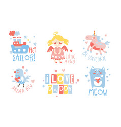 Set cute images for baby vector