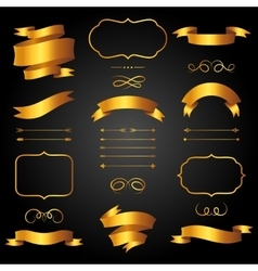 set golden arrows ribbons and labels in retro vector image