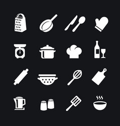 set kitchen tools silhouettes icons vector image