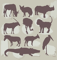 Set of African animals Silhouette vector