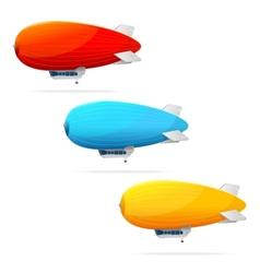 Set of dirigible balloon and text vector