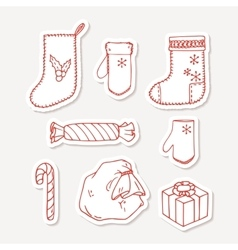 Set of hand drawn christmas stickers Doodle vector image