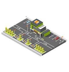shopping center parking composition vector image