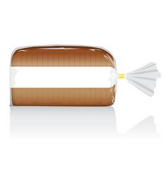 Sliced brown bread loaf visual in clear bag vector
