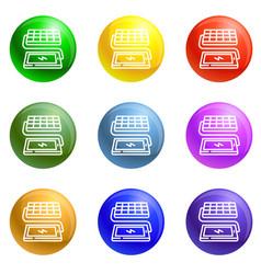 Solar panel phone charging icons set vector