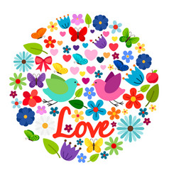 Spring love card round label vector