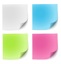 Sticky notes white green pink and blue vector image