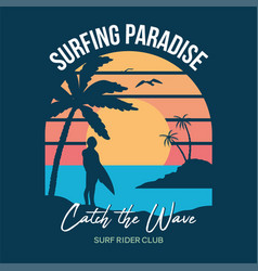 Surf sunset print vector
