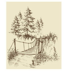 suspension bridge in the forest nature sketch vector image