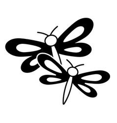 Two dragonflies cute animal cartoon vector