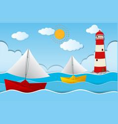 two paper boats sailing at sea vector image