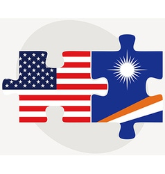 USA and Marshall Islands Flags in puzzle vector