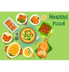Vegetable and fish dishes icon for lunch design vector image