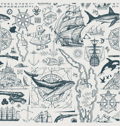 vintage seamless pattern on travel theme vector image