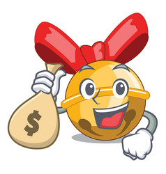 with money bag jingle bells christmas isolated on vector image
