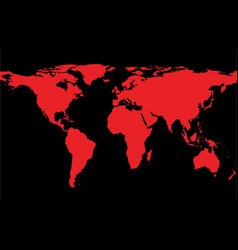 map of the world with red continents vector image