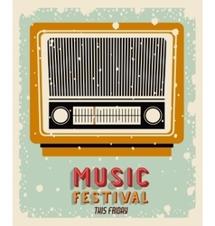 old radio poster isolated icon design vector image vector image