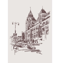 original sepia digital sketch of Kyiv Ukraine vector image vector image